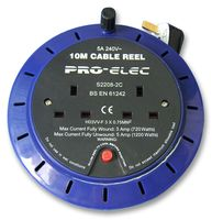 10 Metre 2 Socket Mains Extension Reel 5 Amp Portable
