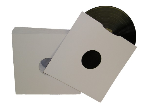 12 White Gloss Card Spined Lp Record Sleeves
