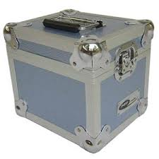 "Aluminium 100 Capacity 7"" Single Record Case Blue Design"
