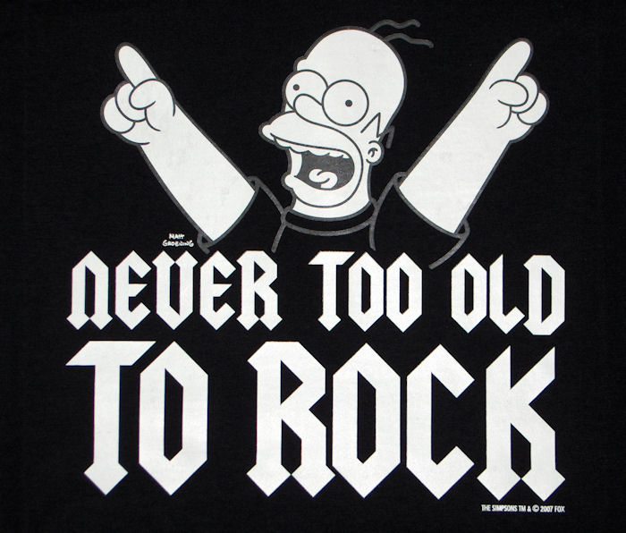 Homer Simpson - Never too Old to Rock - Black T-Shirt