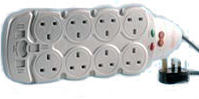 PRO ELEC 2 Metre 8 Way Surge Protected + RFI Extension Lead