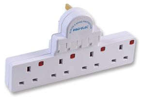PRO ELEC - Individual Switched 4 Way Adapter - Surge Protected