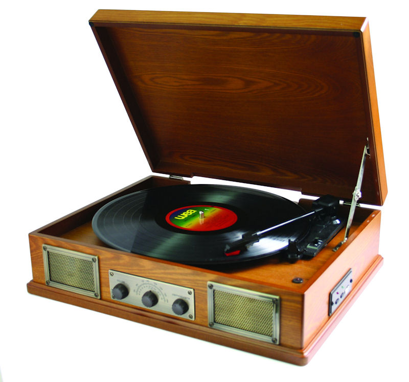 Steepletone Norwich Retro Record Player with Radio amp; USB Playback