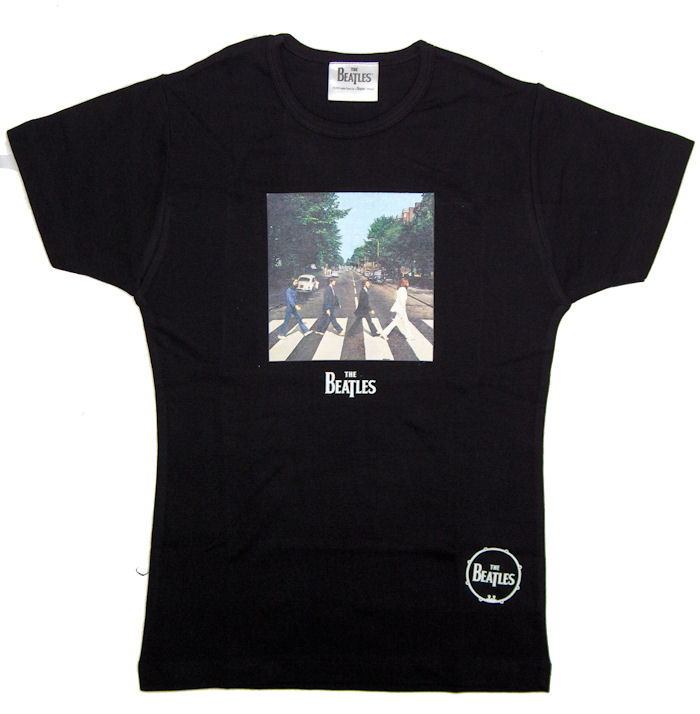 The Beatles Abbey Road Design Black Ladies Fitted T Shirt