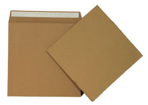 "25 High Quality 625 Micron Brown Board 12"" Record Mailers & 25 Stiffeners"