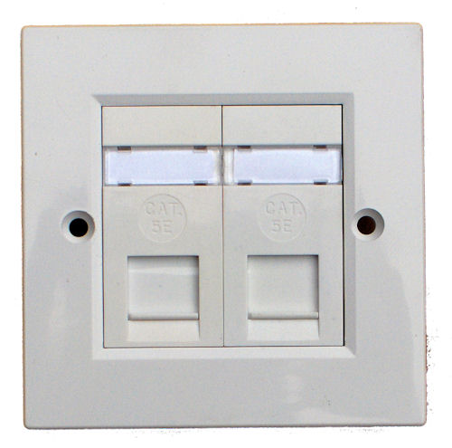 Double RJ45 Cat 5e Wall Socket